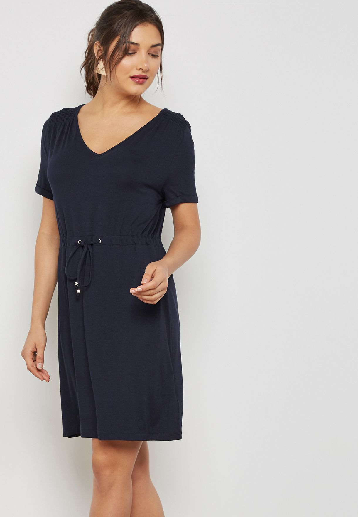 f51fe1fb1644 Shop Dorothy Perkins navy Tie Waist T-Shirt Dress 07569223 for Women in  Qatar - DO860AT39IWI