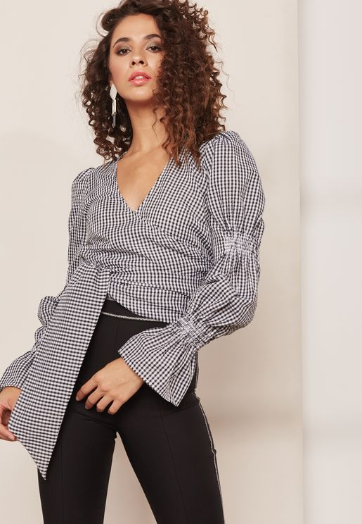 Best Love Gingham Tie Waist Top