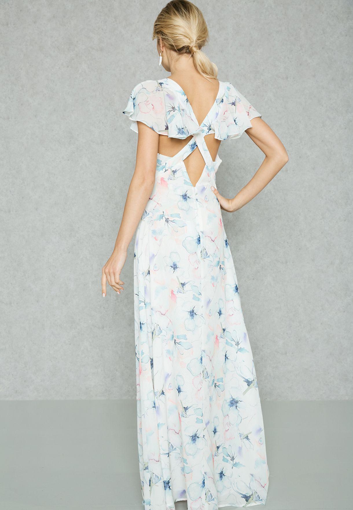 فستان كشكش مطبع