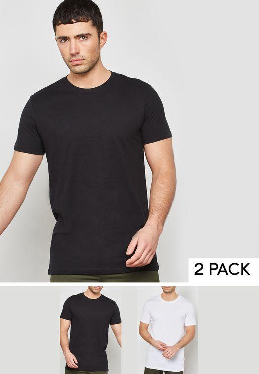 2 Pack Longline Crew Neck T-Shirts
