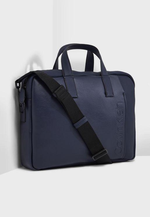 Elevated Logo Slim Laptop Bag