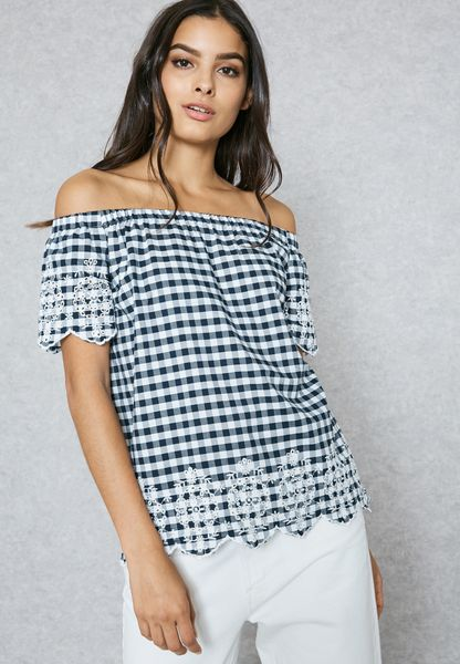 Embroidered Detail Bardot  Checked Top