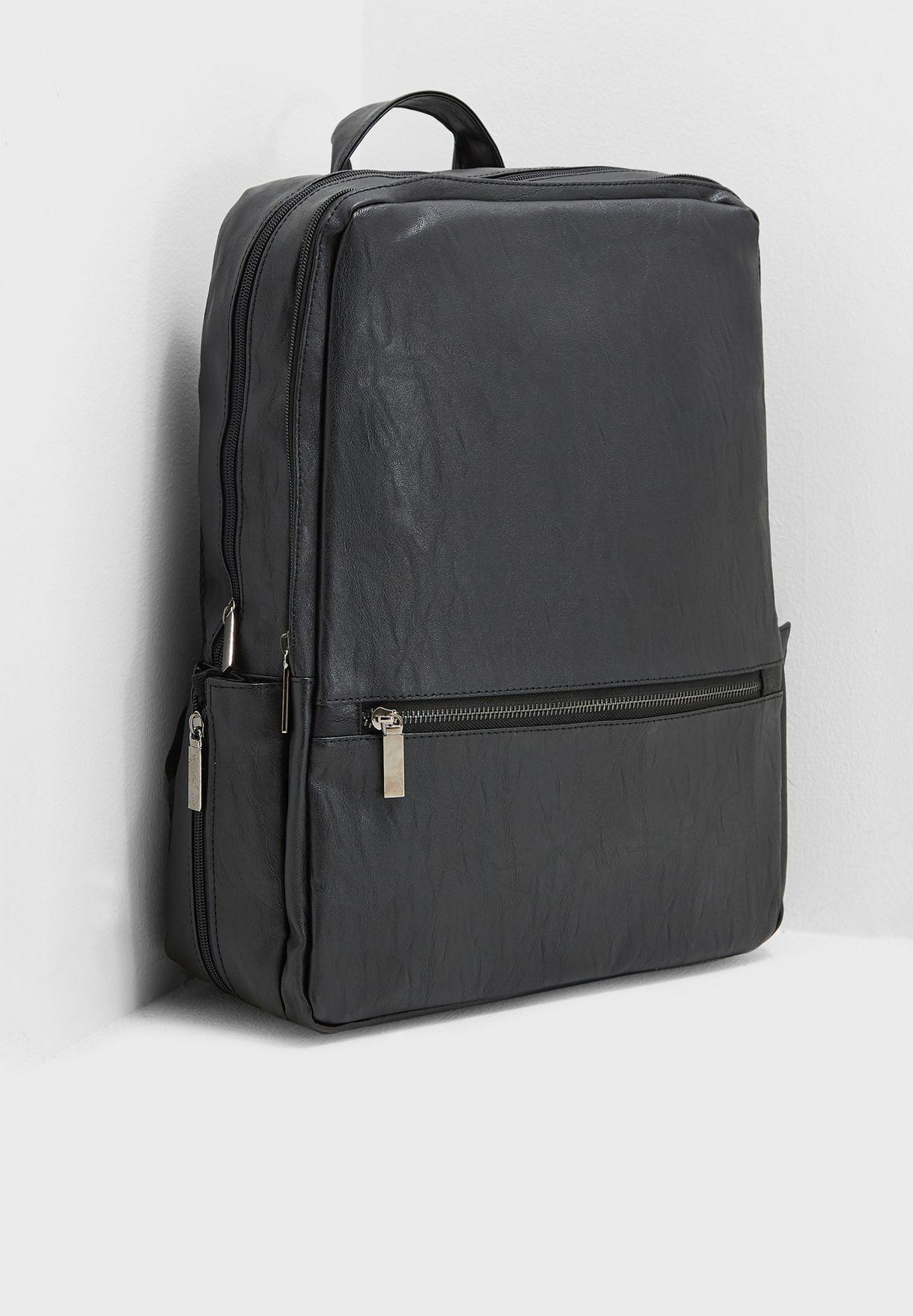 Shop Seventy five black Faux Leather Laptop Sleeve Backpack ... 5401f9c8b74fa