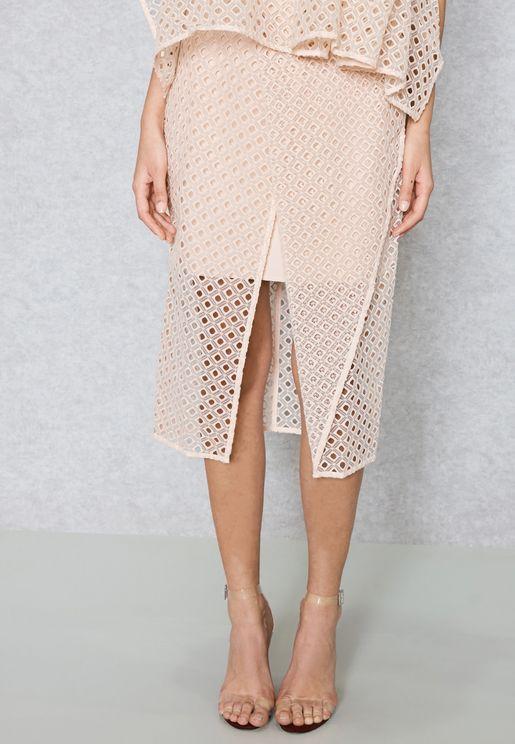 Front Split Cut Out Wrap Skirt