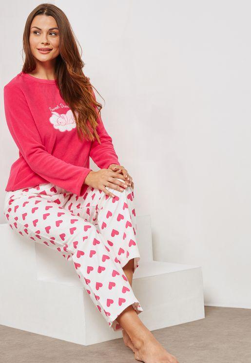Graphic Heart Pyjama Set