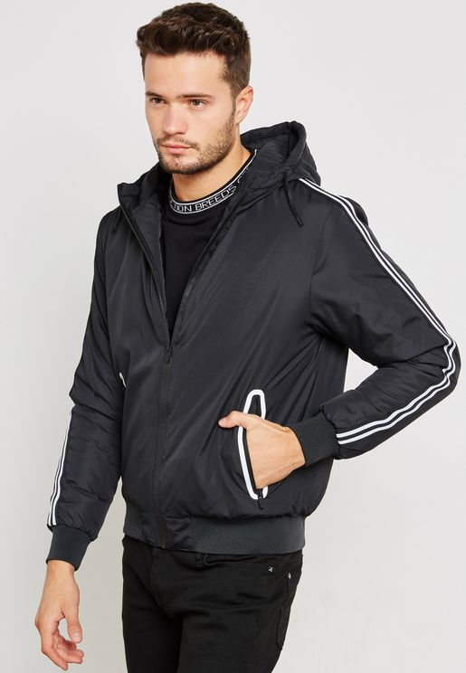 Black Hooded Bomber Jacket Striped Sleeve Tape