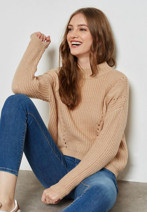 High Neck Side Split Sweater