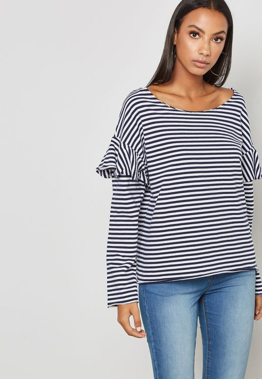 Frill Detail Long Sleeve Striped T-shirt