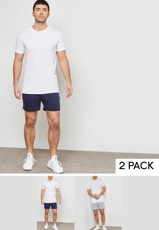 2 Pack  Contrast Waistband Shorts