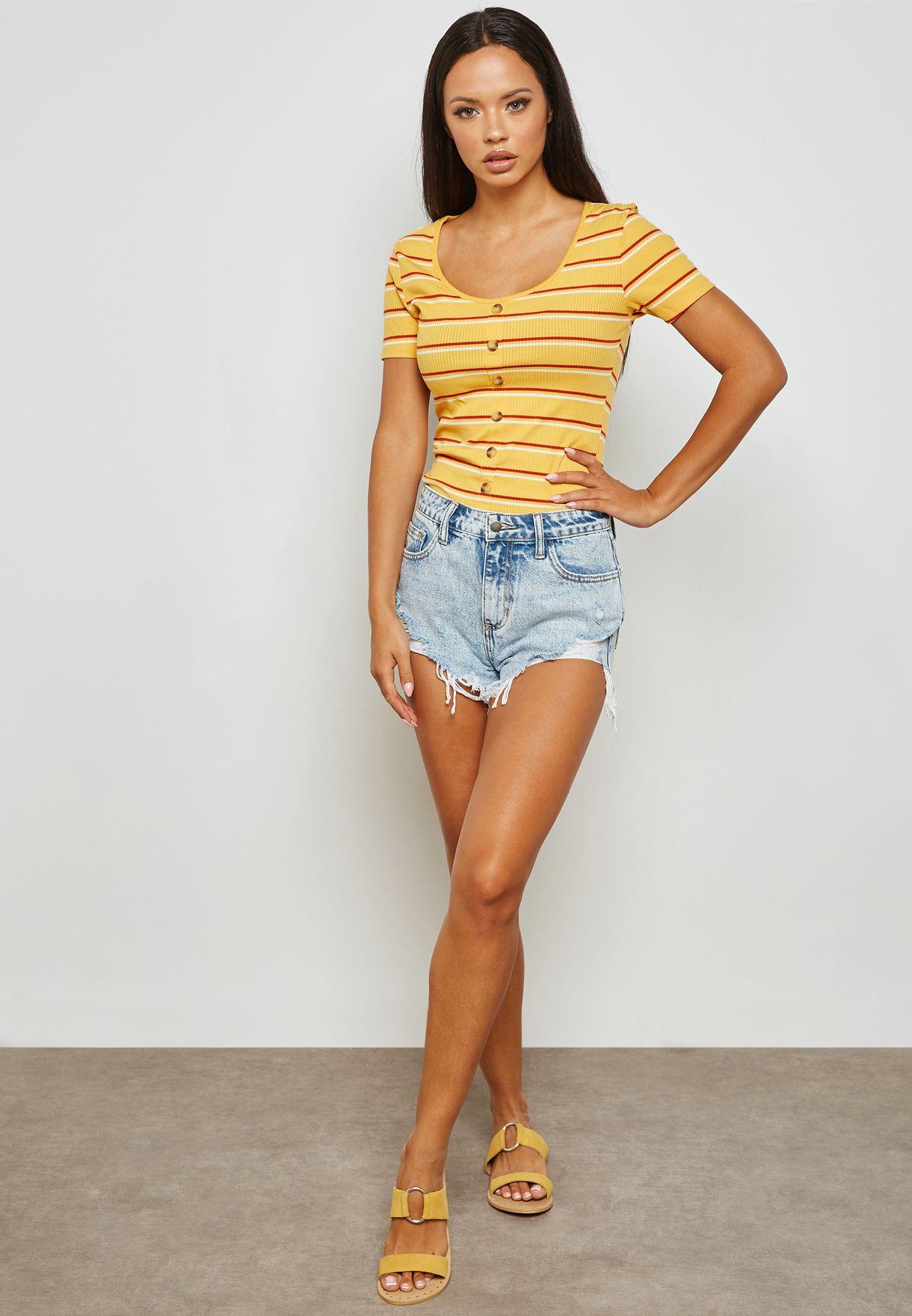 Stripe Button Through T-shirt