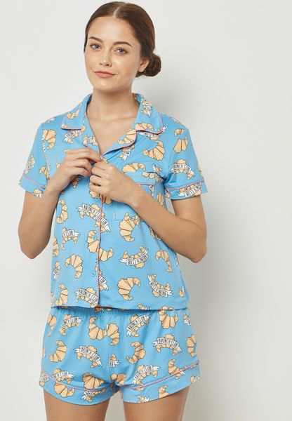 Crossiant Printed Pyjama Shorts  Set