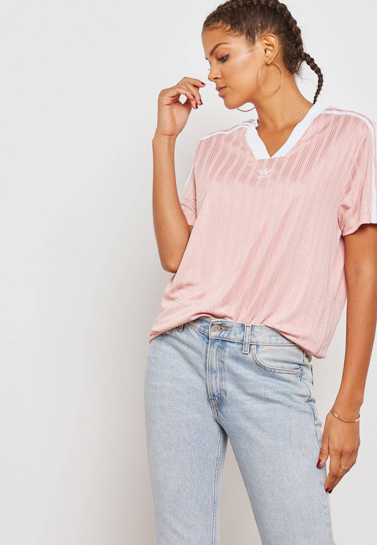 1db1a80f81c2 Shop adidas Originals pink adicolor Football T-Shirt DN8135 for Women in  Oman - AD478AT39KGU