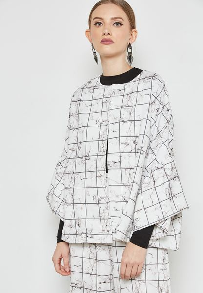 Checked Printed Flute Sleeve Jacket