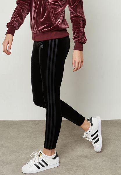 38da47263deb39 ... Shop Adidas originals black Velvet Vibes Leggings CW0277 for Women in  UAE ...