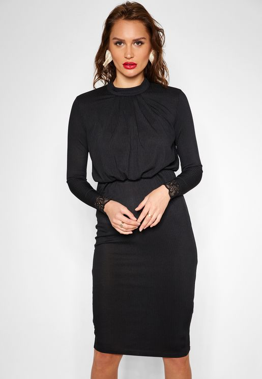 Long Sleeve Tie Neck Bodycon Midi Dress