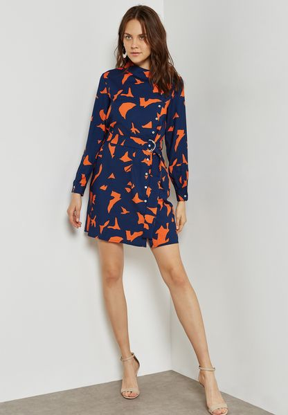 Printed Button D-Ring Belted Dress