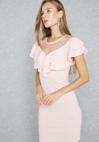 Mesh Yoke Ruffle Dress