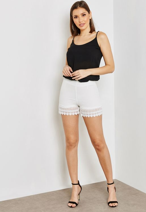 Crochet Lace Hem Shorts