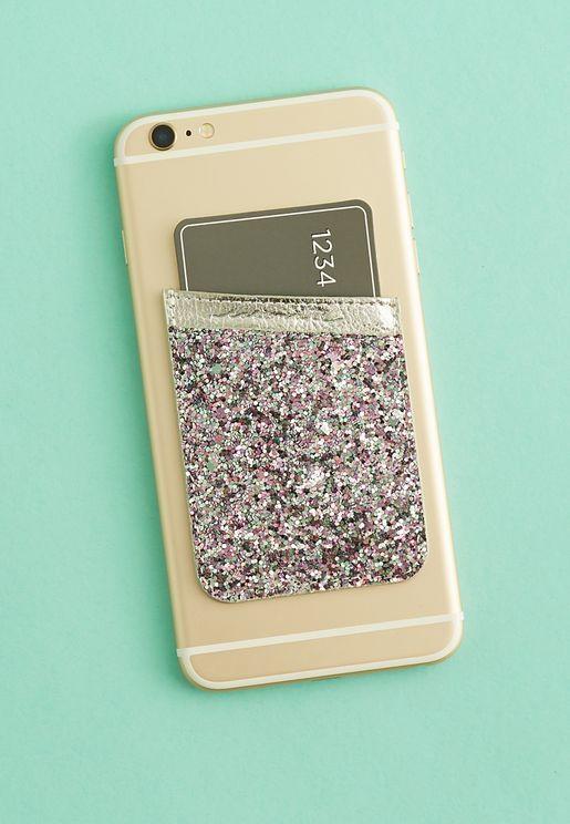 Glitter Phone ID Pocket Phone Holder