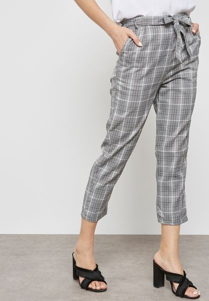 Checked Self Tie Cropped Pants