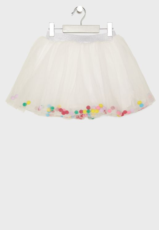 Little Pom Pom Detail Skirt