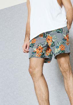 Flower Stripe Swimshorts