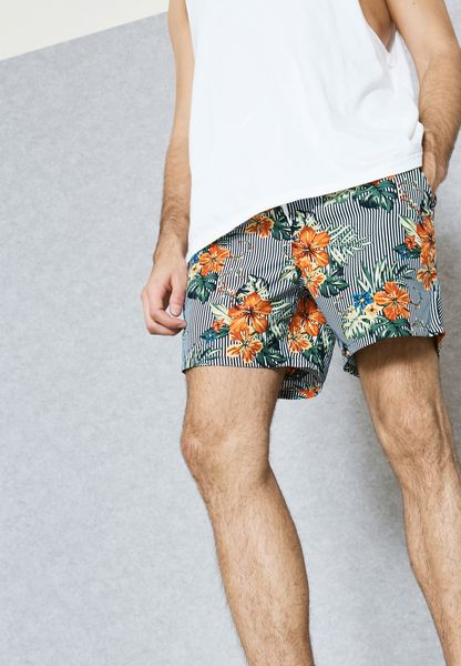 Flower Stripe Swimshorts