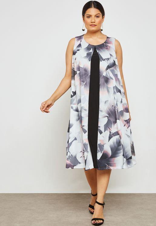 Overlay Floral Print Midi Dress