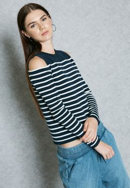 Cold Shoulder Striped Sweater
