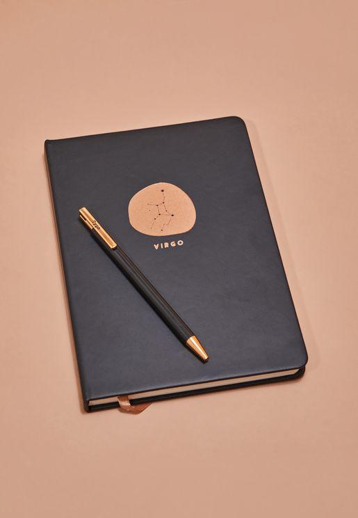 مجموعة دفتر ملاحظات برج العذراء مع قلم