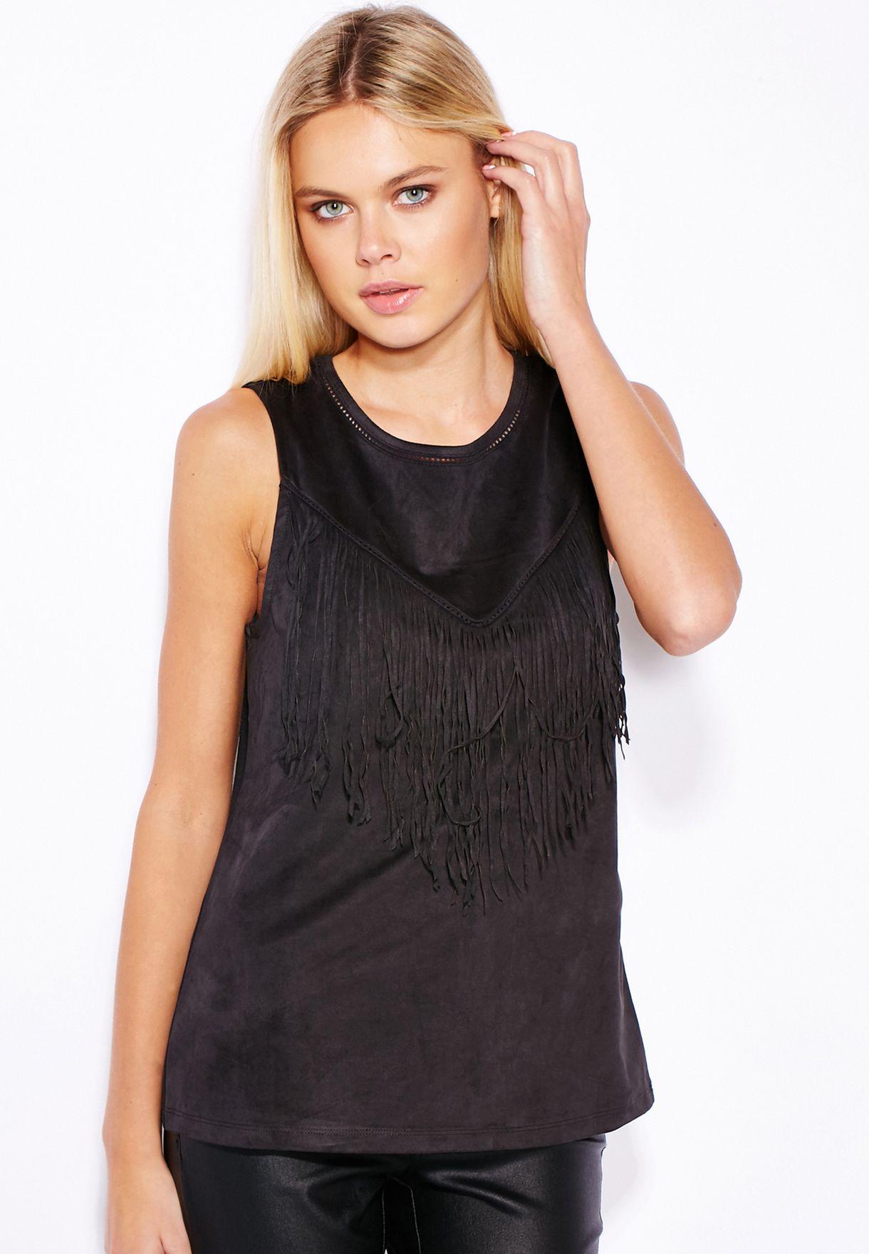 a296f96087d00 Shop Only black Suedette Fringe Top 15111695 for Women in Oman ...