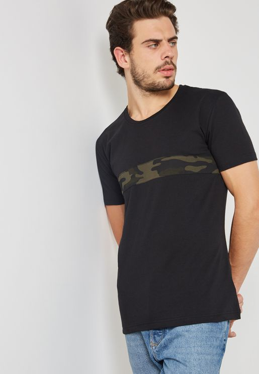 Camo Stripe Crew Neck T-Shirt
