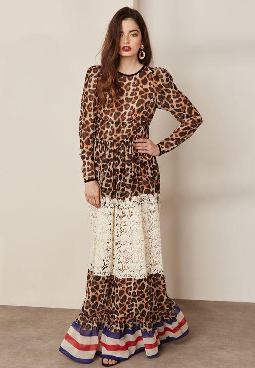 Animal Print Colourblock Lace Maxi Dress