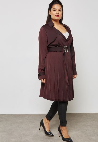 Belted Pleated Coat