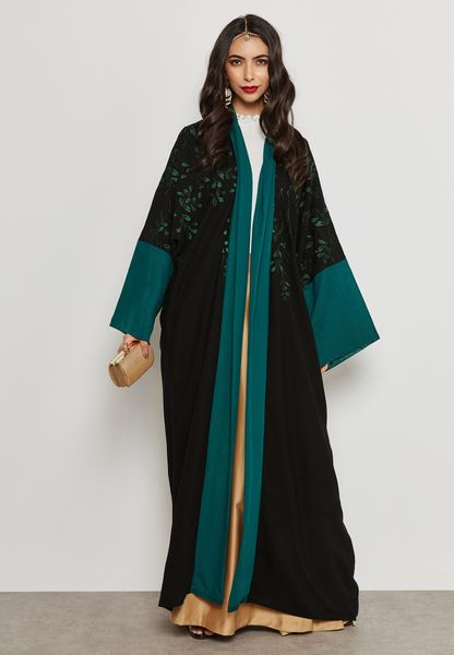 Two Tone Embroidered Abaya