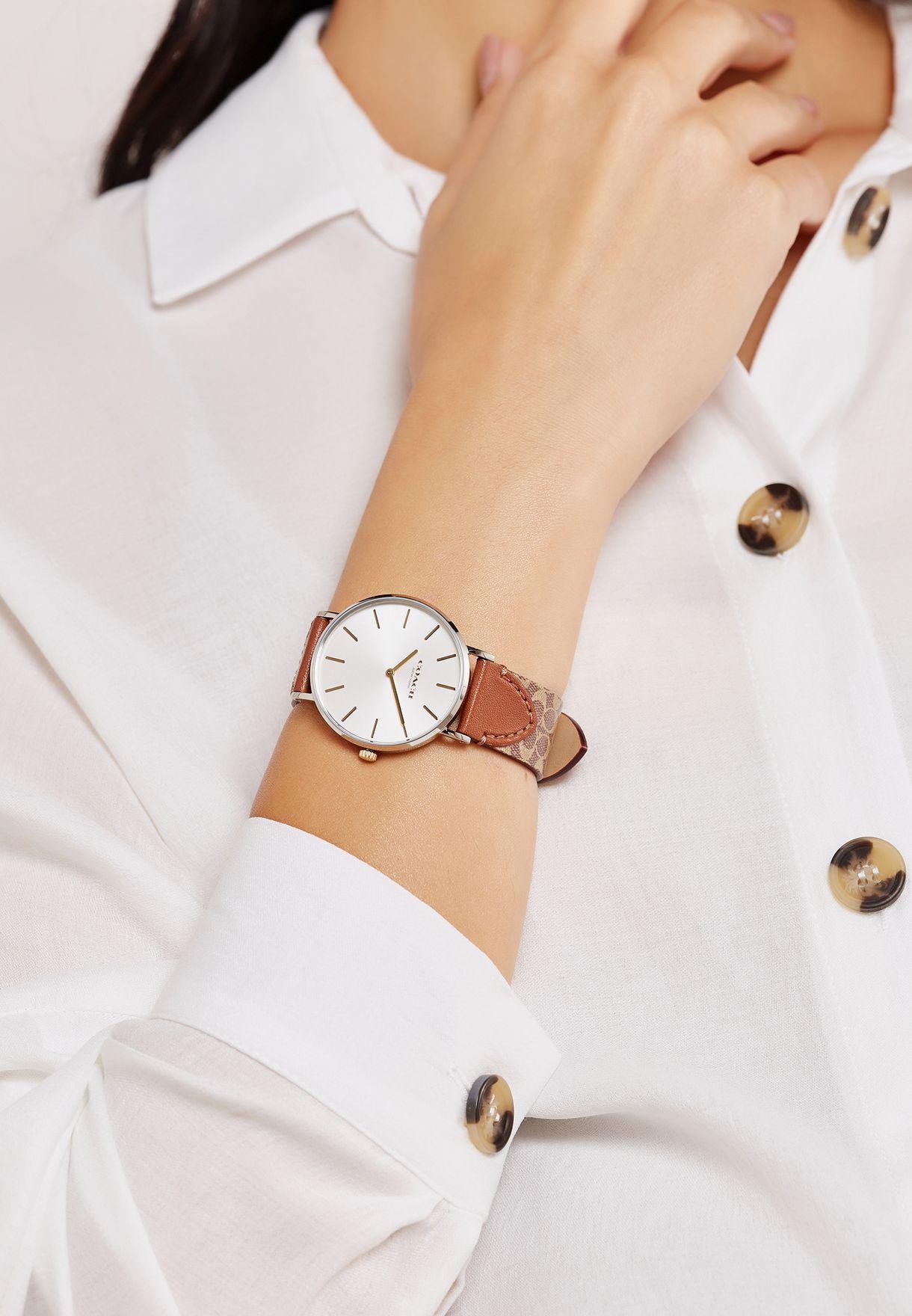 ساعة جلد اصلي مطبعة