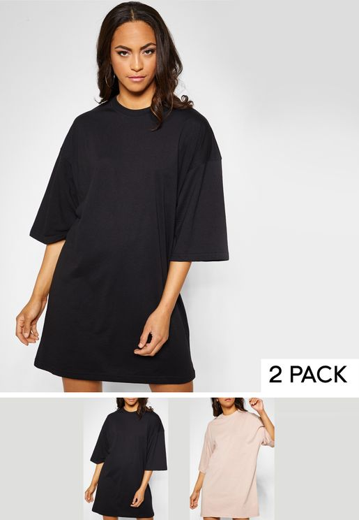 2 Pack Oversized T-Shirt Dress