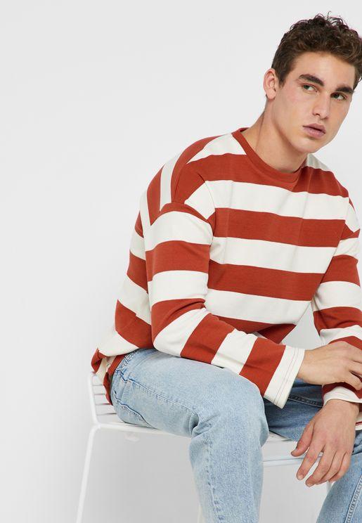 Harvard Striped Crew Neck Sweatshirt