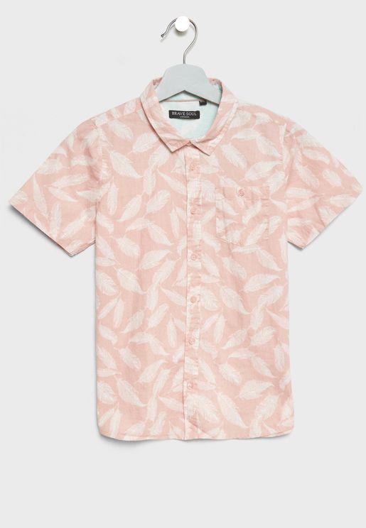 Teen Feather Print Shirt