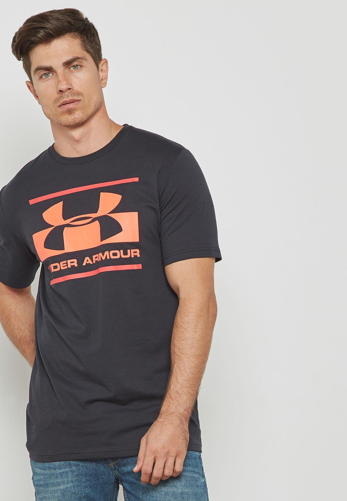 d8fc3a4e Shop Under Armour black Blocked Logo T-Shirt 1305667-002 for Men in ...