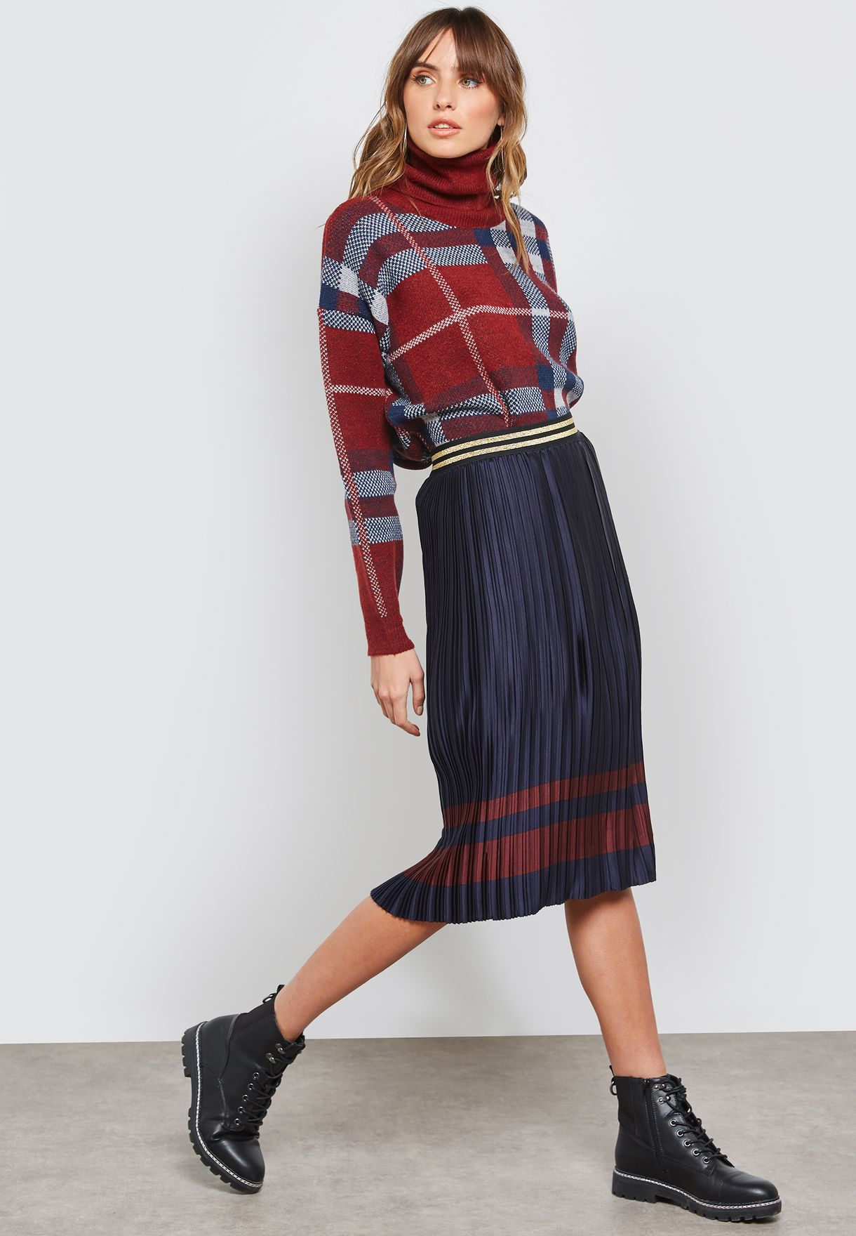 29cb2e5d8b Shop B Young navy Contrast Striped Pleated Skirt 20804696 for Women ...