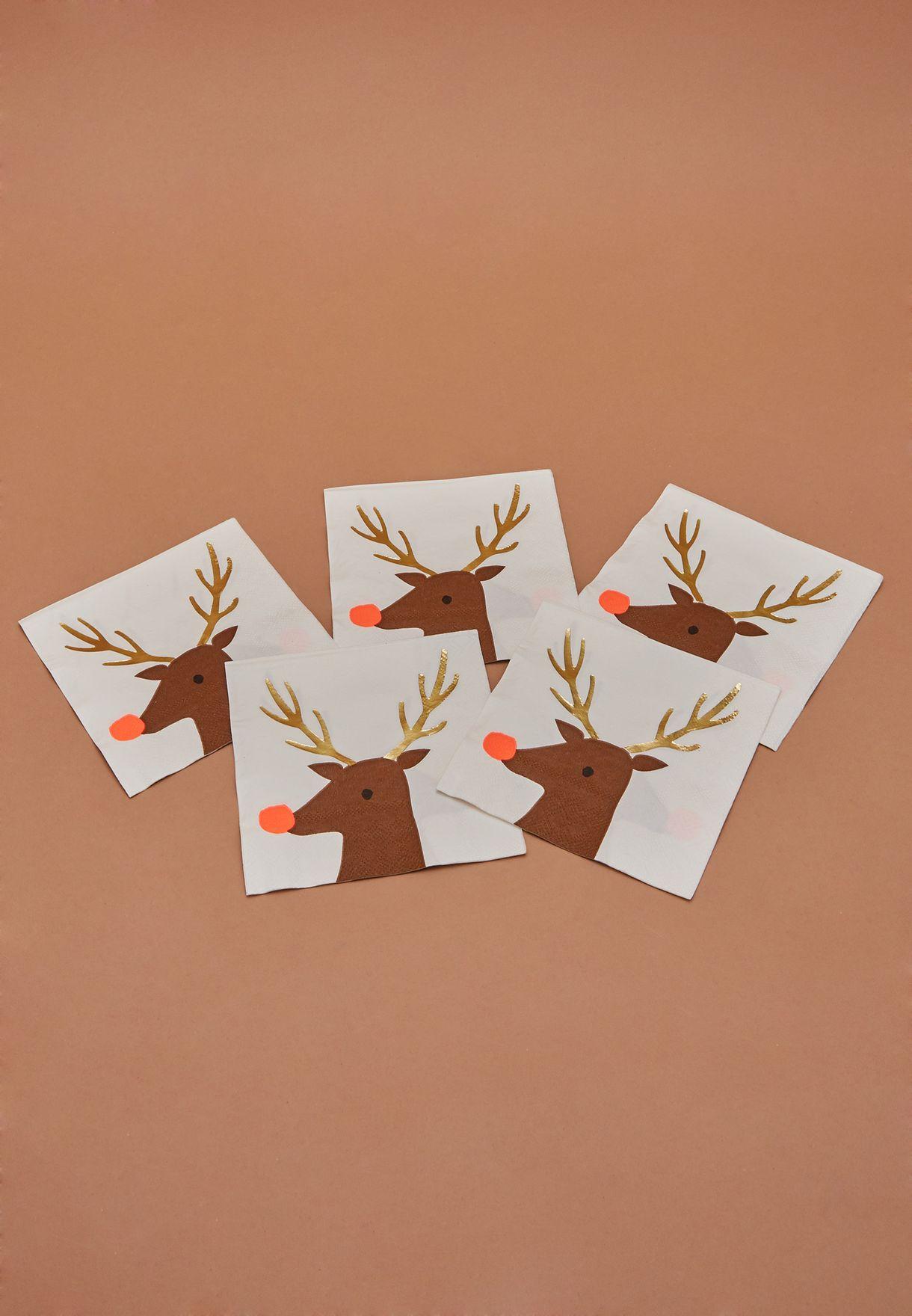 Christmas Reindeer Napkins 16Pack