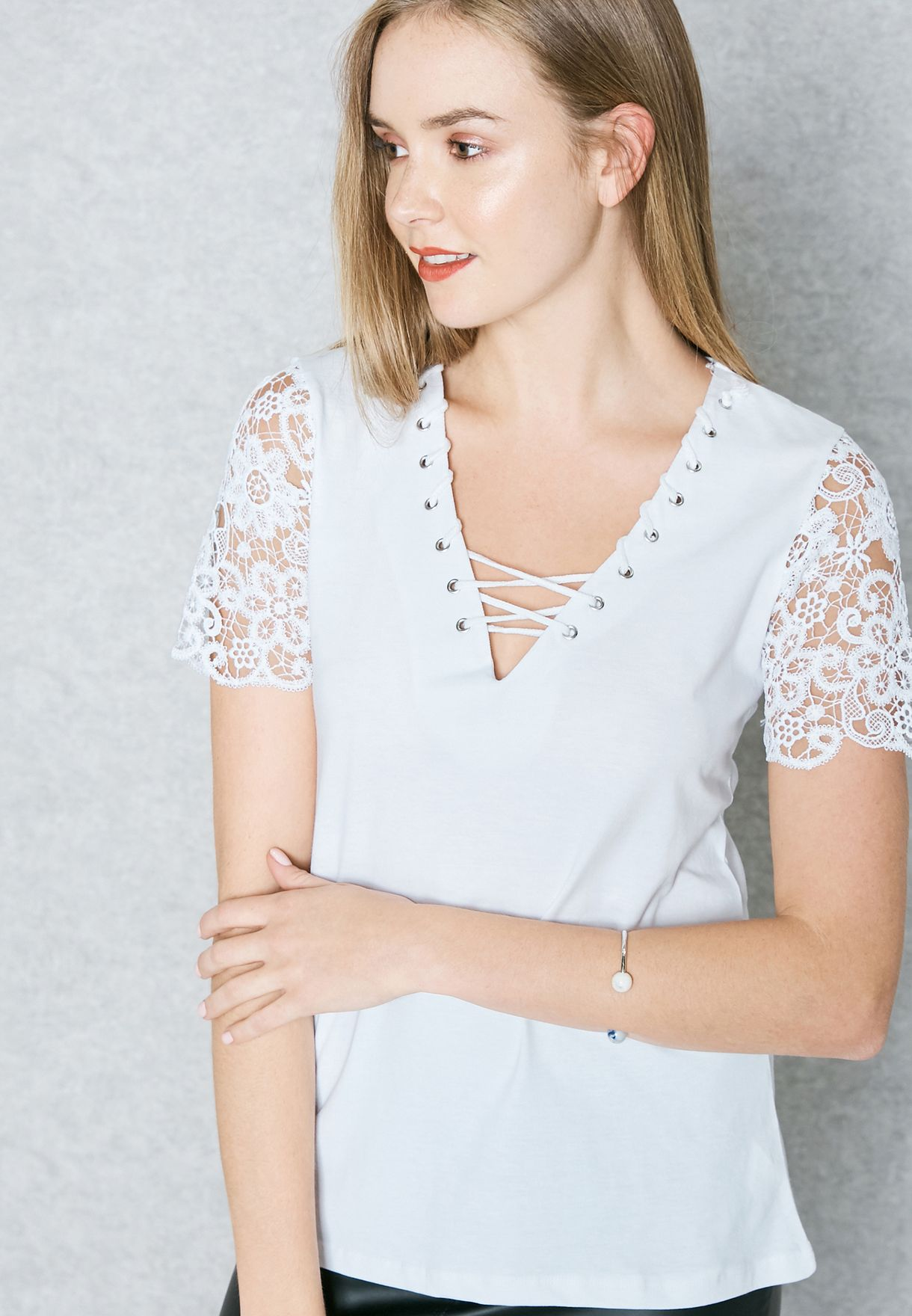 535f4418c0a3f7 Shop Ginger white Eyelet Lace Sleeve T-Shirt MLWSS17GN9785/BEYAZ for ...