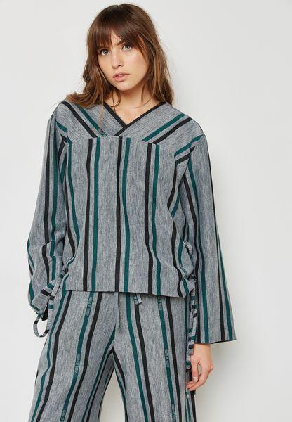 Lace Up Striped Sweatshirt