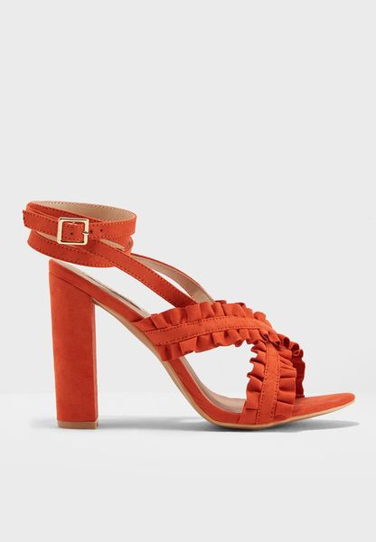 Ruffle Cross Strap Heeled Sandal