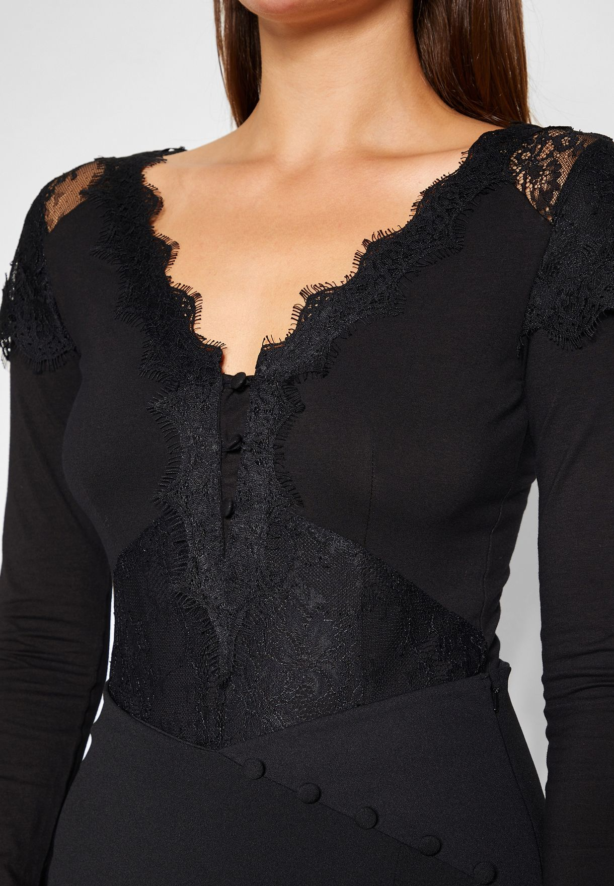 Buy Lost Ink Black Long Sleeve Scallop Detail Body For Women, Uae Lo956at29jdi