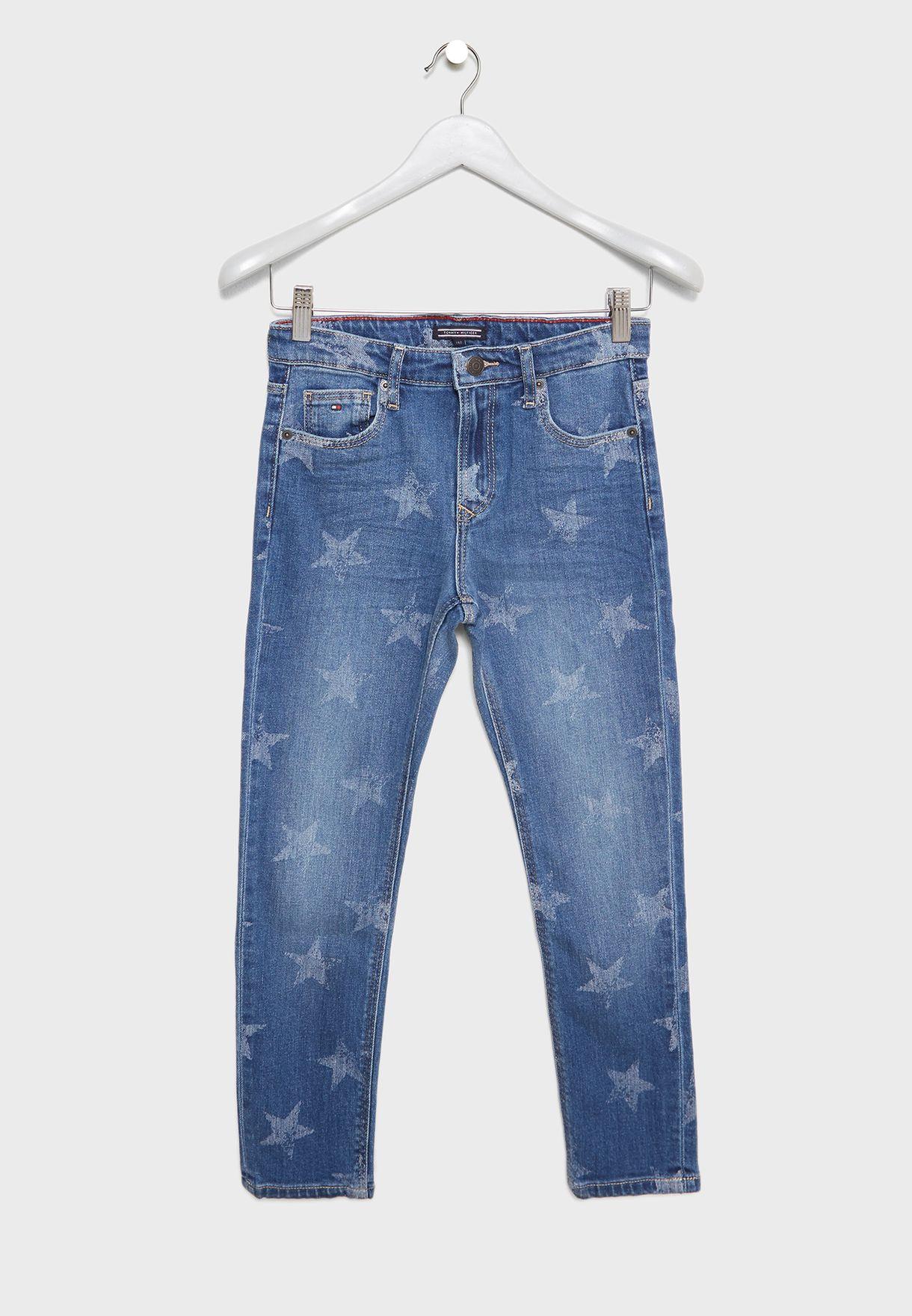 بنطال جينز بطبعات نجوم