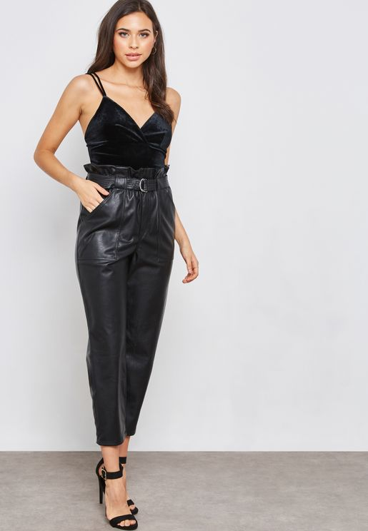 Leather Look High Waisted Buckle Belted Pants