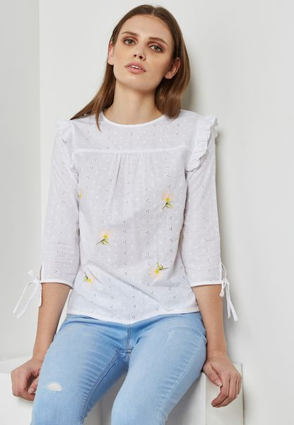 Embroidered Broderie Top