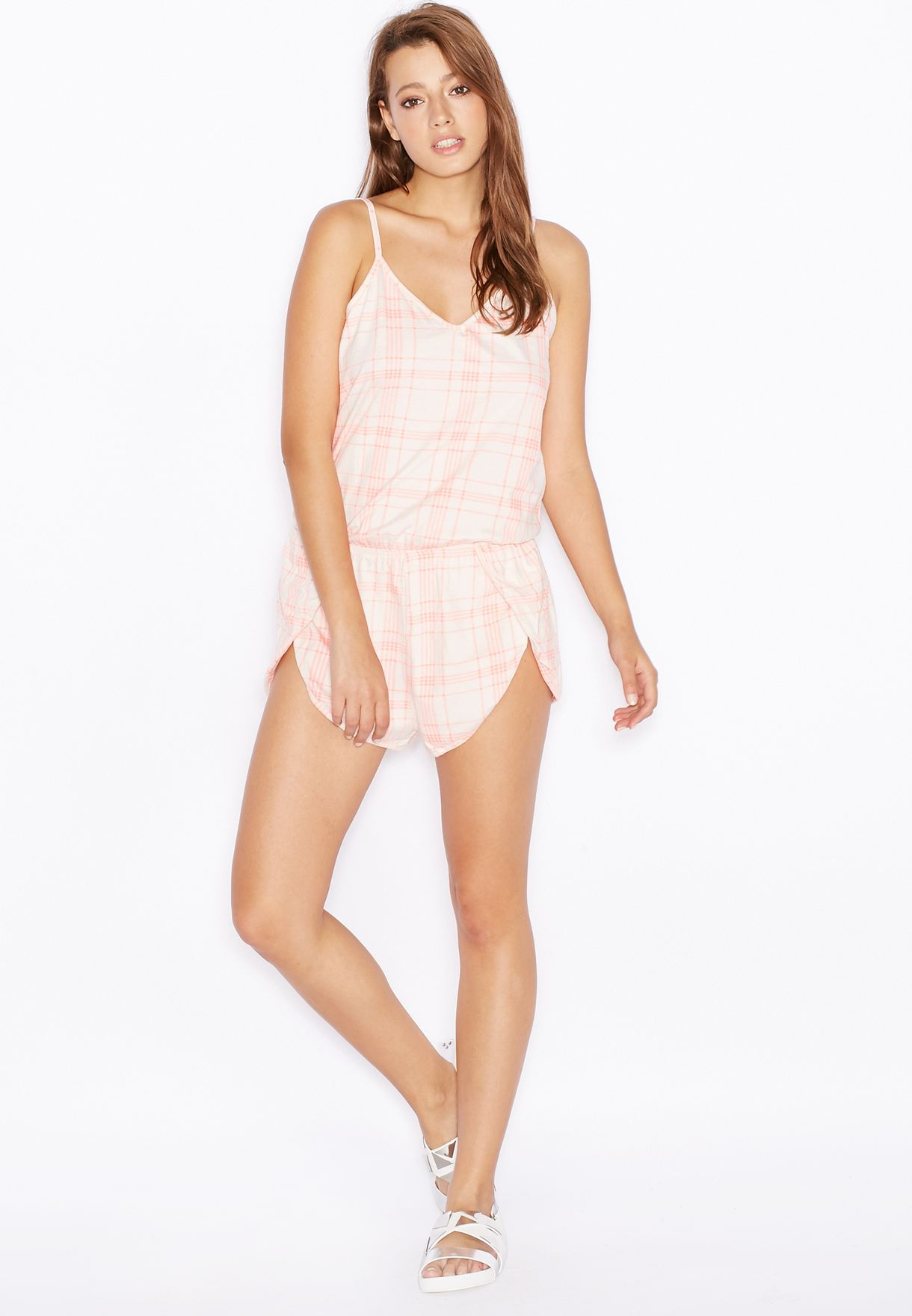 Shop New Look pink Checked Pyjama Playsuit 371151771 for ... f7294db49